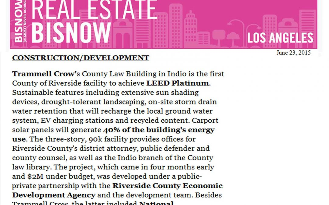 Millie and Severson featured in Bisnow Los Angeles Edition