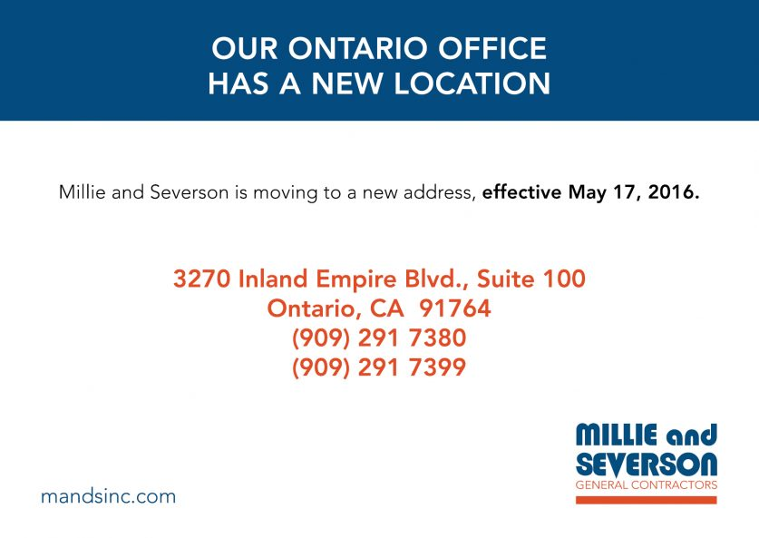 Millie & Severson's Ontario Office Has A New Address